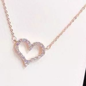 NEW WHITE GOLD PLATED DIAMOND HEART NECKLACE